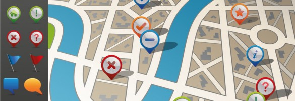 Street Map with GPS Icons.